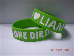 "Wholesale Bracelets Harry One Direction - 50PCS Lot 1D Bracelet 3 4"" Wide One Direction Silicone Wristband I Love Niall, Harry, Louis, Liam, Zayn"