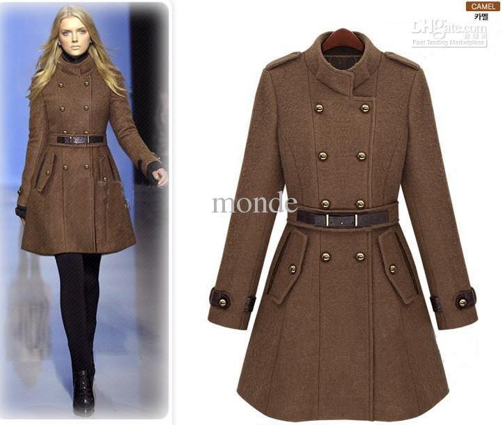 2013 yeni monde ince kadın palto kadın trençkotlar kadın mont Kadın Dış Giyim Kahverengi yün ceket