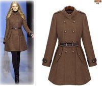 yünlü hendek katları toptan satış-2013 yeni monde ince kadın palto kadın trençkotlar kadın mont Kadın Dış Giyim Kahverengi yün ceket