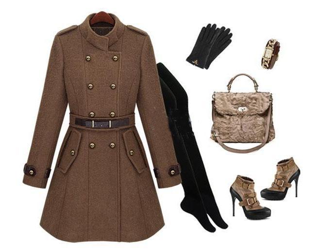2013新しいモンドスリムレディースコート女性のトレンチコート女性のコート女性の壁の茶色のウールのコート