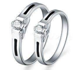 Wholesale Couple Rings Swiss Diamond - 21STYEL!! Accessories popular 925 silver jewelry couple rings Swiss wedding diamond ring.(6pcs lot)