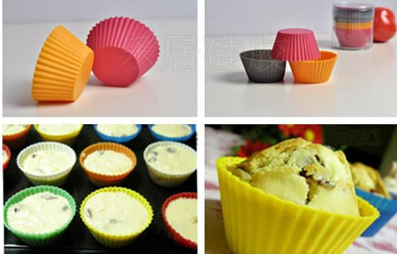 Rund form silikon gelé bakning mögel 7cm muffin kopp tårta koppar cupcake