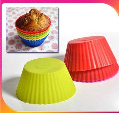 A forma redonda silicone geléia cozimento 7 centímetros molde copo queque copos do bolo queque