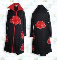 akatsuki manto itachi al por mayor-Naruto Akatsuki Uchiha Capa Itachi Escudo S M L XL XXL Cosplay capa de Naruto Uchiha Itachi