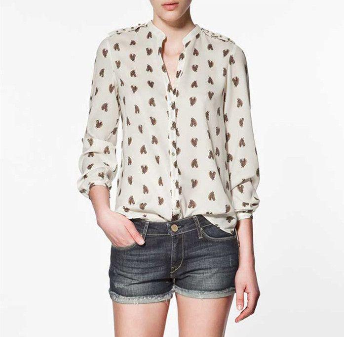 2018 2012 new women shirt horse printed long sleeve shirt for Womans long sleeve shirts
