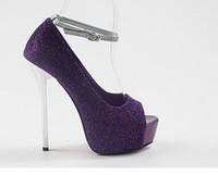 ingrosso pompe a punta di punta-Nuove brillantini blu viola delle nuove donne Taglia 34-40 Nuove scarpe eleganti 4 colori