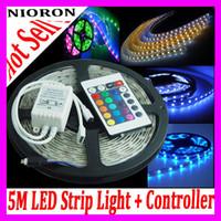 ip67 lumières achat en gros de-Bandes lumineuses LED étanches IP67 flexibles SMD 3528 600 LEDs 5M / Contrôleur Stri p + Contrôleur 24Keys