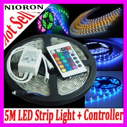 Wholesale Led Strips Lighting - Waterproof IP67 Flexible LED Light Strips SMD 3528 600 LEDs 5M Roll Stri p Light + 24Keys Controller