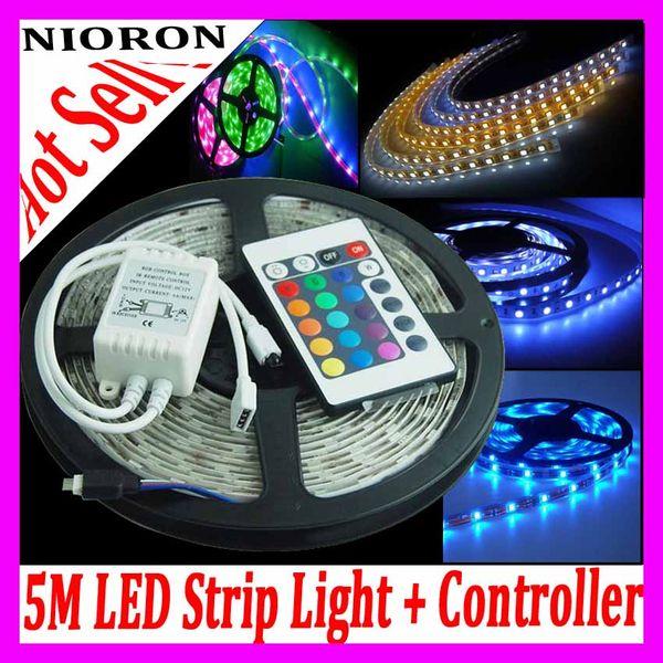 Tiras de luz LED flexibles a prueba de agua IP67 SMD 3528 600 LEDs 5M / Roll Stri p Light + 24Keys Controller