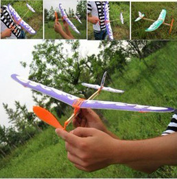 Wholesale Toy Airplane Rubber Band - FLYING bird DIY Rubber band powered airplane model assembly Large glider Creative children gift toys