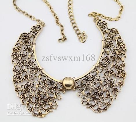 New Vintage Bronze hohlen Metall Schnitzen Blume falschen Halsband Choker Bib Halskette