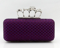 Wholesale Handbag Punk - Ladies' Skull Clutch Knuckle Rings Handbag, Four Fingers Evening Bag with Shoulder Chain punk wallet
