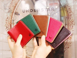 Wholesale Korean Couple Wallet - Free Shipping New 5 color pu leather short Couples wallet card pocket pounch wallet card bag Korean