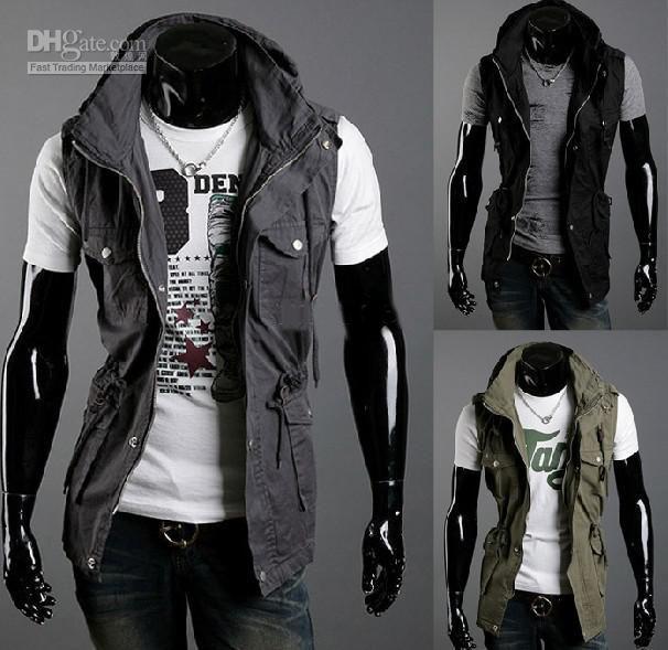 Fashion Men's Jacket Hoodie Sweatshirt Sweats Sleeveless Jacket ...