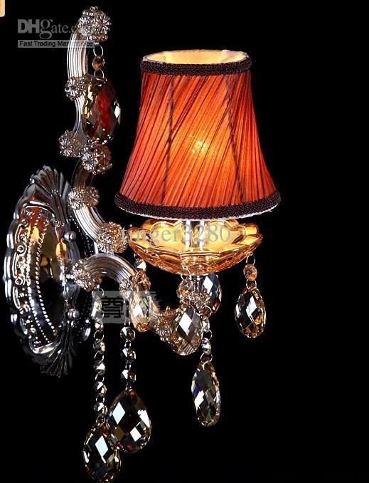 Gratis frakt Shinning Crystal Wall Lampa / Glas Vägglampa / 1L Sovrum Vägglampa Belysning