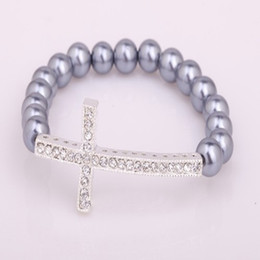 faux pearl bracelet crystals 2019 - New Desin Grey Faux Pearl Stretch Bracelet Fit Sideway Silver Crystal Cross Bracelet 18pcs cheap faux pearl bracelet cry