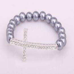 Wholesale New Sideway Crosses - New Desin Grey Faux Pearl Stretch Bracelet Fit Sideway Silver Crystal Cross Bracelet 18pcs