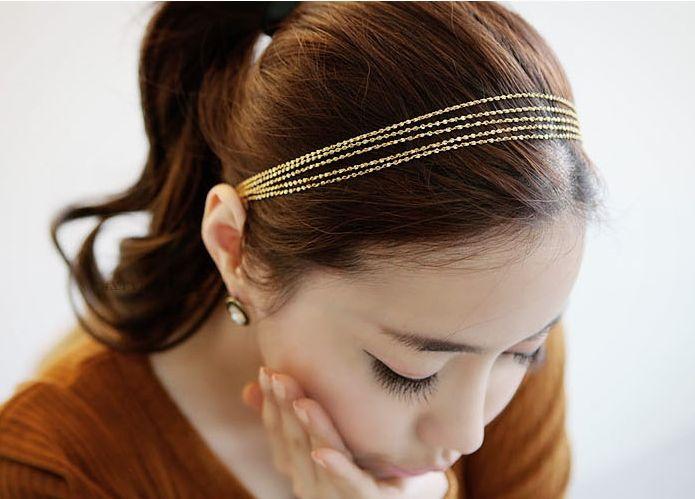 Las mujeres elegantes diadema borlas de oro que tejen de múltiples capas de la cadena del metal del hairband del pelo arco peine del pelo del pun ¢ o