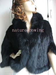Wholesale Knit Mink Fur Coat - Women's  new real mink with sleeves cape  fox collar  coat  part wholesale black