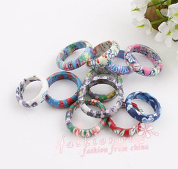 Wholesale Color Wedding Jewelry - Mix Color Thin Polymer Clay Rings Fimo Brand Rings 100pcs lot Fashion Ring mix sizes Jewelry