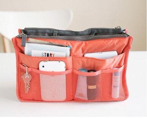 10 piezas Mujeres Viaje Insertar Bolso Organizador Bolso Organizador de liner grande Tidy Bolsa Bolsa de color rosa