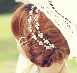 Wholesale Plastic White Hair Band - New Comming Silver Plated Crystal Rhinestone Leaf Flower Necklace  Headband 10pcs lot