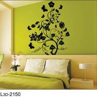 décalcomanies de fleurs noires pour mur achat en gros de-Livraison gratuite: 1 SET = 5.99USD noir fleur arbre bricolage 3D Wall Art autocollant amovible autocollant répétitif nous