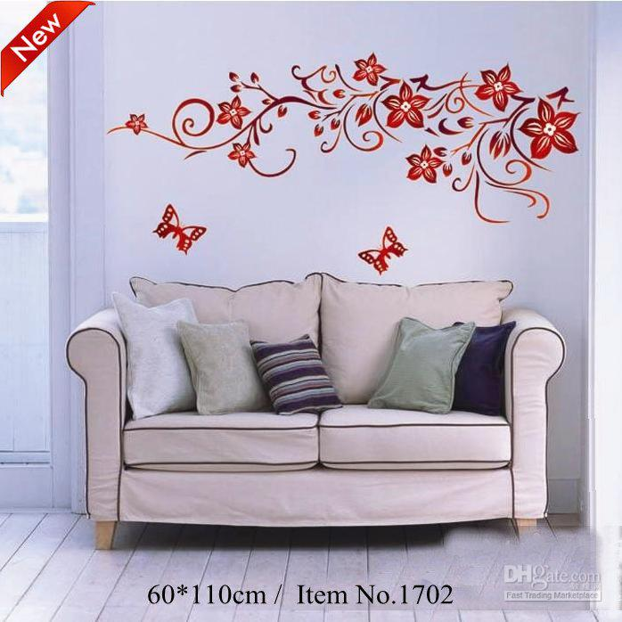 :Dark Red Flowers Pattern 110*60cm Diy Repetitive Wall Art Home 3d  Removable Wall Stick Wall Decals Kids Wall Decals Murals From Beijia2013,  $19.33| Dhgate.