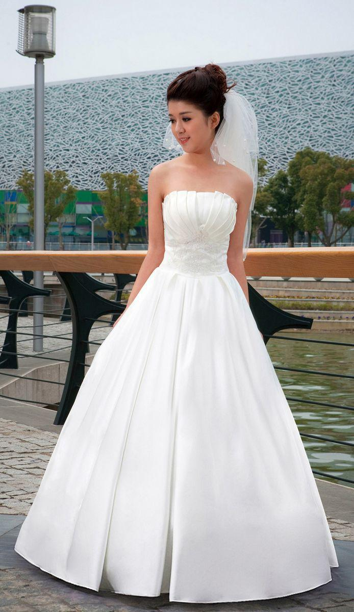Fashion Satin A Line Strapless Wedding Dress,Embrodery Big Bow Bride/Gown  Dress