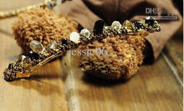 Mais novo headwear decorações de cabelo de cabelo de cristal hoop hairclips liga headband braçadeira diamante jóias