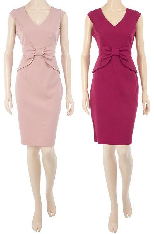 2017 Dress Knot Pink Dress Work Formal Business Women Wear Work ...