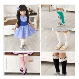 Wholesale Girls Lace High Stockings - Baby Girl Socks High Socks Kids Lace vivi Deodorize Bow Stocking Tights highs Mnlticolor Socks-2160