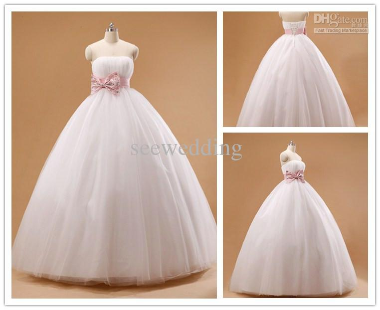 Sweet Strapless Ball Gown Wedding Dresses With Bowknot