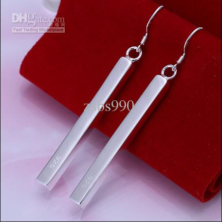 I nuovi monili di modo degli orecchini di goccia diritti d'argento di alta qualità caldi 925 di goccia liberano il trasporto 10pair / lot
