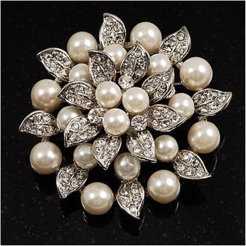 Versilbert Strass Kristall Creme Perle Blatt Lotus Blume Braut Brosche