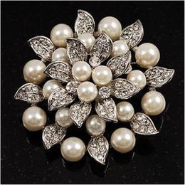 Wholesale Lotus Crystal Flower - Silver Plated Rhinestone Crystal Cream Pearl Leaf Lotus Flower Bridal Brooch Pin
