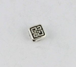 Wholesale Tibetan Square Spacer Beads - 160 Tibetan silver floral square spacer beads A8913