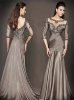 Wholesale Dress Embellishments - 2017 Special Occasion Dresses Gray Mermaid Evening Dresses with Beaded Embellishments Long Sleeves Prom Dress Formal Gowns