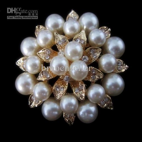 Broche nupcial del Pin de la flor de la perla de la flor de la hoja de la perla del cristal plateado oro del Rhinestone