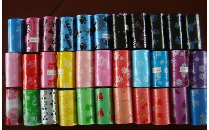 degradable bolsa de desechos de las mascotas perro Pooper inútil Scoopers bolsa de residuos Bolsas gato envío libre colores mezclados