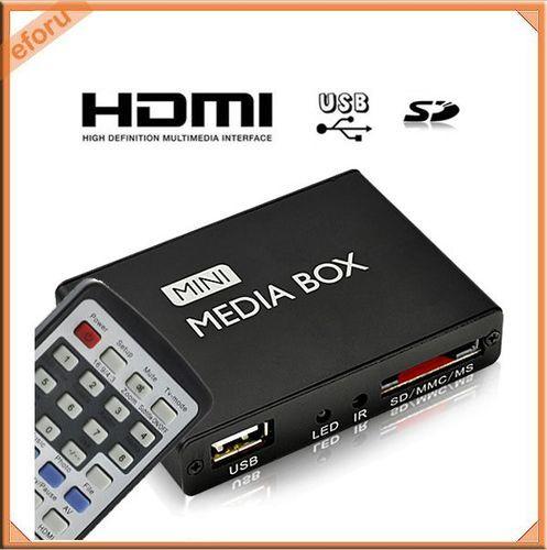 usb hd hdmi multi media player mini box tv display w remote control rc av out video projectors. Black Bedroom Furniture Sets. Home Design Ideas