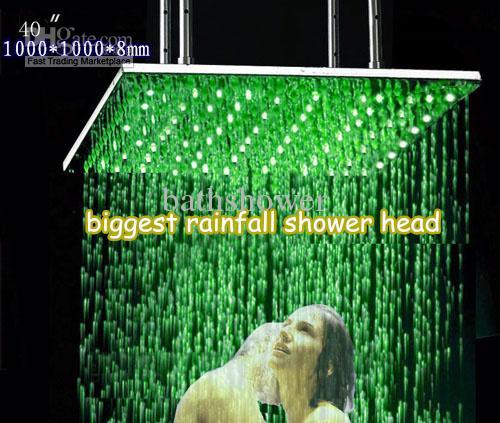 2019 1000 1000mm Square Biggest Top Rain Shower Head Led