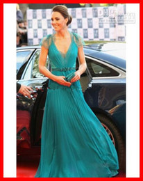 Barato Kate Vestidos Novos-Personalizado! Nova chegada Kate Middleton Vestido V-neck Lace Back Chiffon longo Celebrity Evening Dress 2015 Novo
