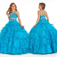 Wholesale Discounted Girls Dresses - Big Discount! 2015 Girl Pageant Dress Blue Hot Sale Organza Spaghetti Flower Girl Dress FG123