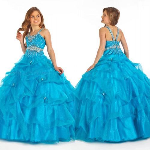 Big Discount! 2018 Girl Pageant Dress Blue Hot Sale Organza Spaghetti Flower Girl Dress FG123