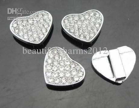 50 stks / partij 8mm steentjes hartsecheldels DIY legering accessoires fit voor 8 mm lederen armband polsband
