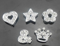 Hot selling 20pcs lot 10mm full rhinestones mix styles Slide Charms ( heart star flower crown & ) Fit for 10mm bracelet