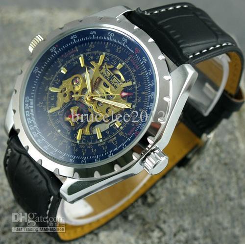 jaragar stilvolle luxus männer leder uhr edelstahl mechanische sport tauchen herren top-marke armbanduhren