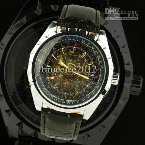 relógio de couro luxuoso à moda dos homens do jaragar relógio de pulso superior inoxidável do tipo dos homens mecânicos do mergulho do esporte
