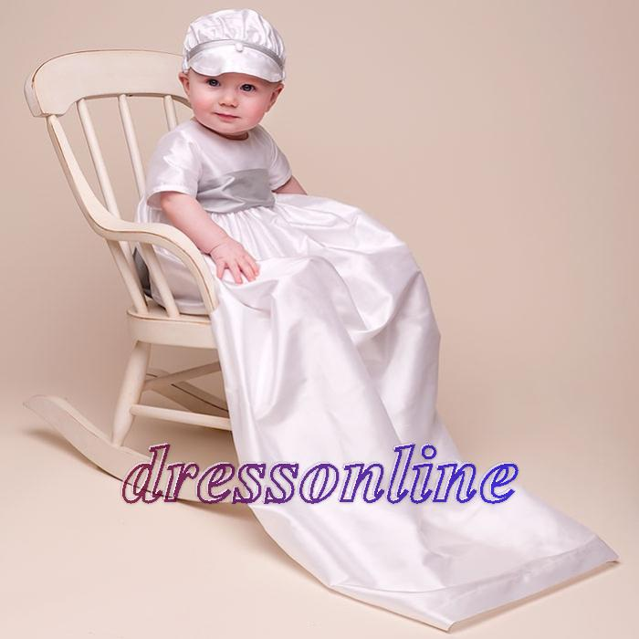 With Hat Short Sleeves Boy Baptism Christening Gown Long ...